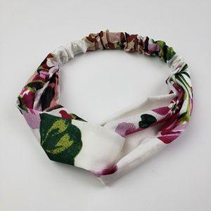 White Floral Print Turban Style Headband
